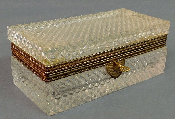 """French crystal box, c.1920, with brass fittings. 3.5""""h."""