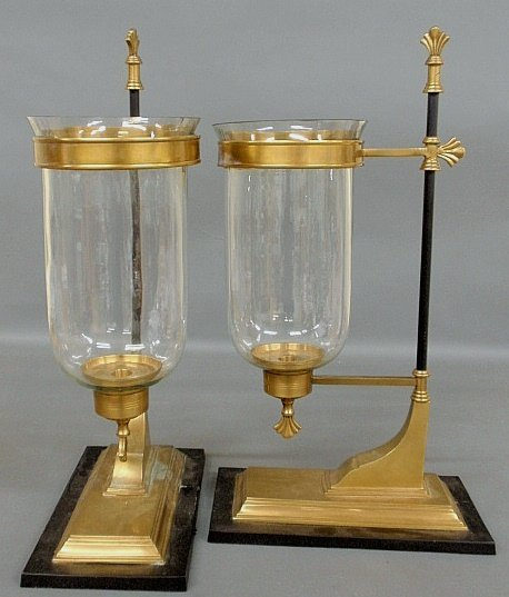 Pair of blown glass hurricane shades mounted in brass w