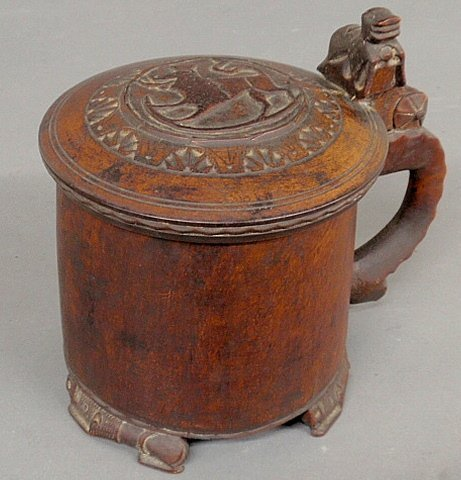 Fine Norwegian wood tankard, 18th c., with carved relie
