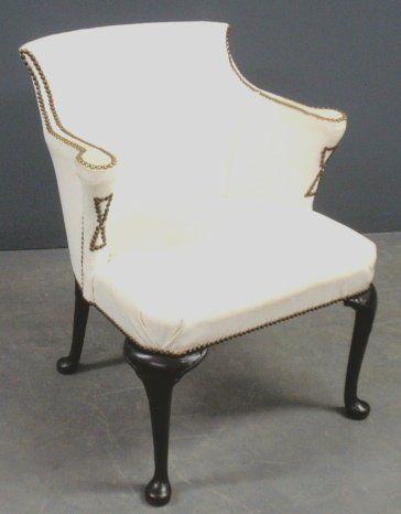 Queen Anne style white leather club chair with brass st