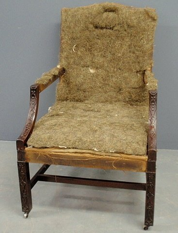 """Chippendale style mahogany open armchair, 19th c. 39.5"""""""