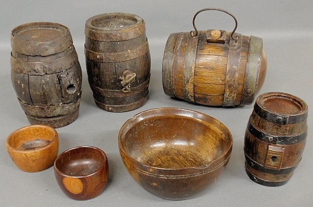 """Four small 19th c. water casks, largest 7""""h.x8.5""""l., an"""