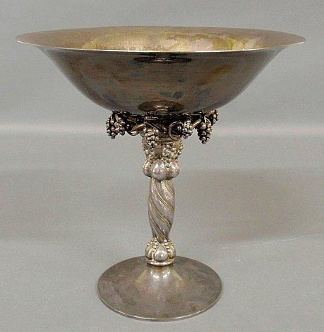 Large Georg Jensen, Denmark hammered sterling silver co