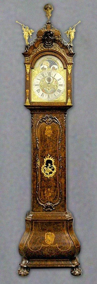 Exquisite Dutch burl walnut veneered tall case clock by