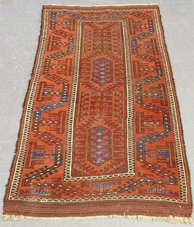 Afghan oriental hall runner with geometric patterns. 2'