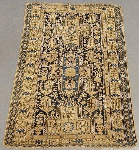 Kazak oriental hall carpet, blue and tan with geometric