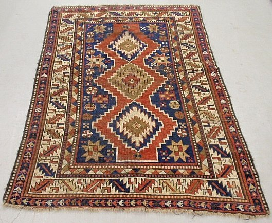 Colorful Caucasian center hall carpet with geometric pa