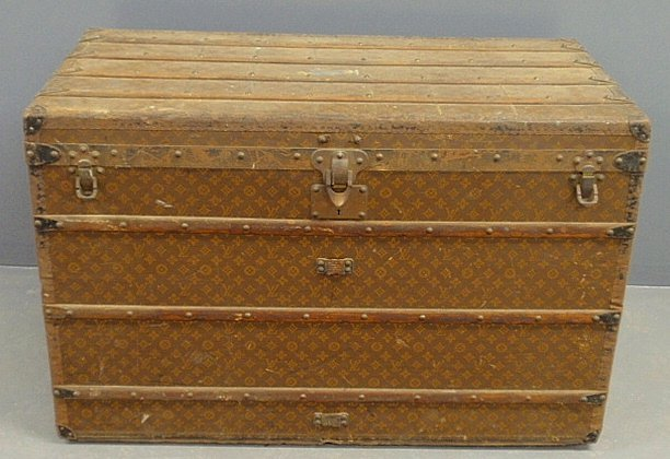 Large Louis Vuitton steamer trunk with original stacked