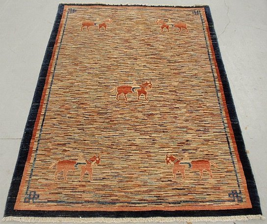 Colorful contemporary Pakistan carpet with children