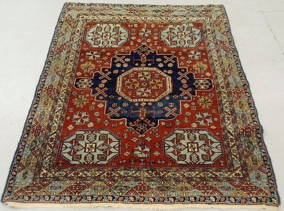Colorful Persian oriental mat with center medallion and