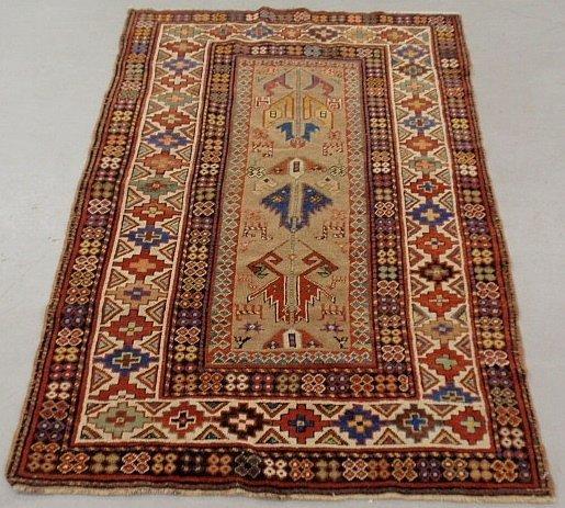 Colorful Kazak oriental hall carpet with geometric