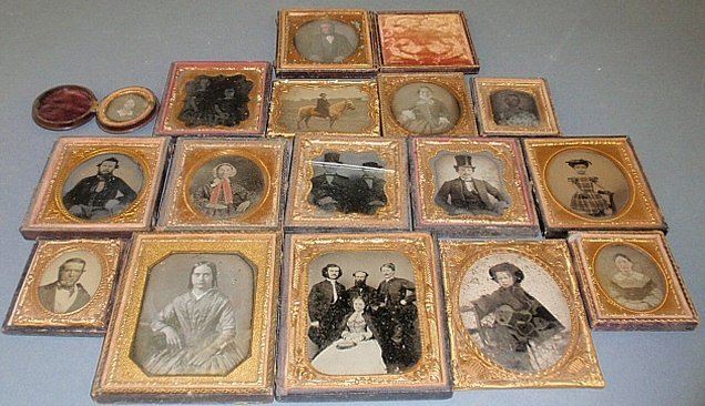 Group of sixteen 19th c. tin type and daguerreotype