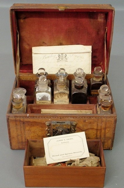 Leather cased apothecary, late 19th c., with eleven