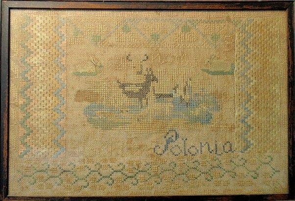 """Silk on linen sampler,19thc., """"Polonia"""" and deer."""