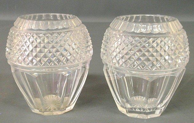 """Pair of lead crystal vases. 5.5""""h.x4.25""""w."""