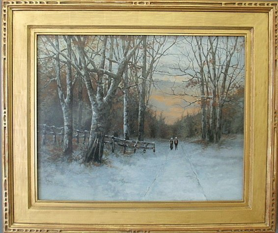 Gouache of a winter snow scene at twilight with two
