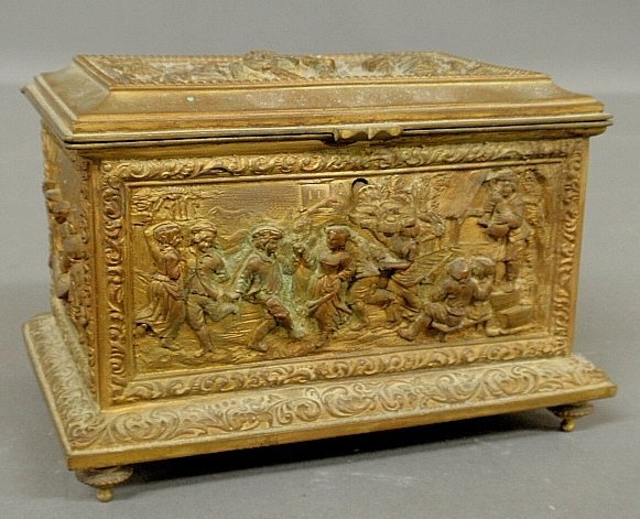 Continental brass trinket box, early 20th c., with