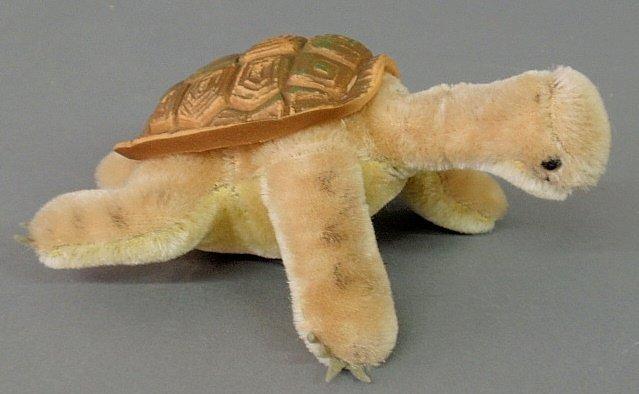 Steiff turtle, c.1950, medium size, no button or tag.