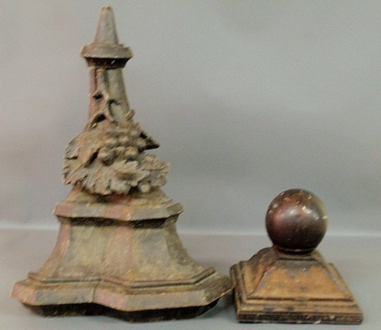 Two carved wood 19th c. architectural pieces- bracket