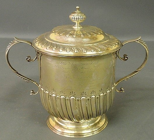 English silver two-handled urn and cover by Carrington,