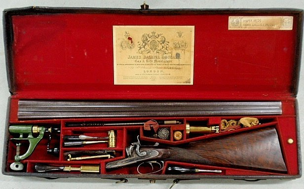 Rare leather cased antique double-barrel 12 gauge
