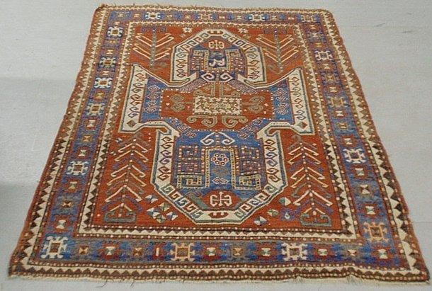 Large Kazak oriental center hall carpet with overall