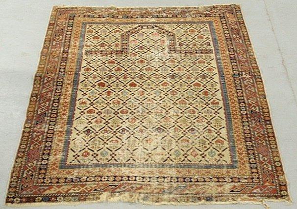 "Dagestan oriental prayer rug. As found. 4'7""x3'9"""