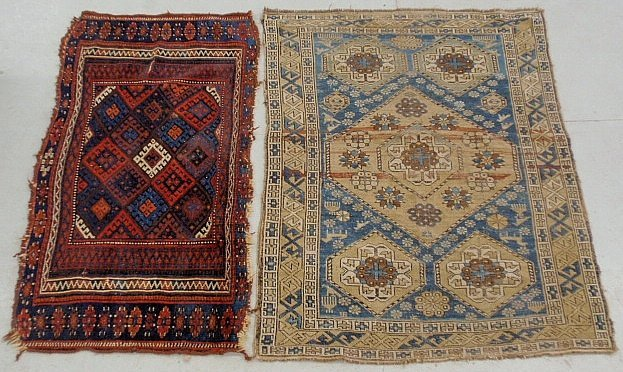 """Two oriental throw mats, largest 2'10""""x3'10"""", as found."""