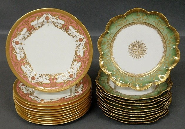 "Set of ten Minton plates 9""dia. with pink and gilt"