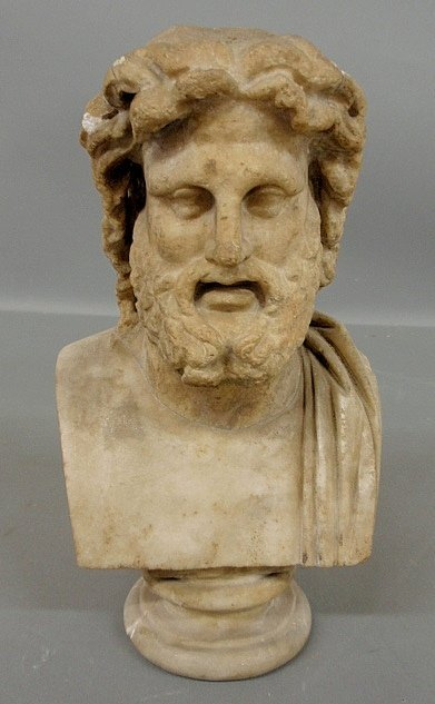 """Carved marble bust of Zeus. As found. 14""""h."""