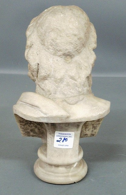 "Carved marble bust of Zeus. As found. 14""h. - 2"