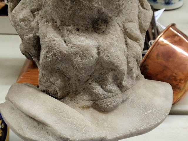 """Carved marble bust of Zeus. As found. 14""""h. - 4"""