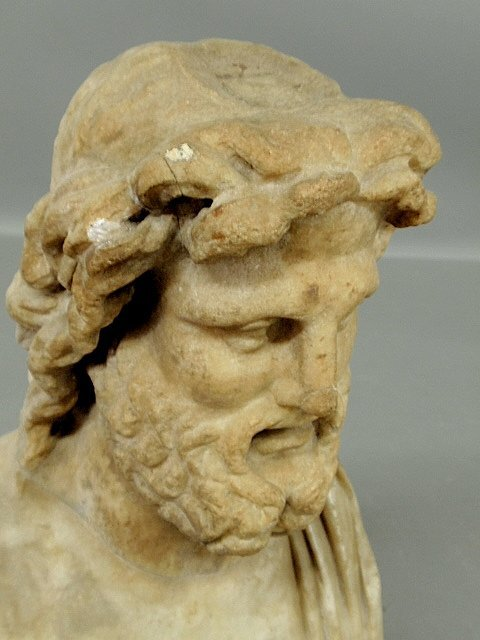 """Carved marble bust of Zeus. As found. 14""""h. - 8"""