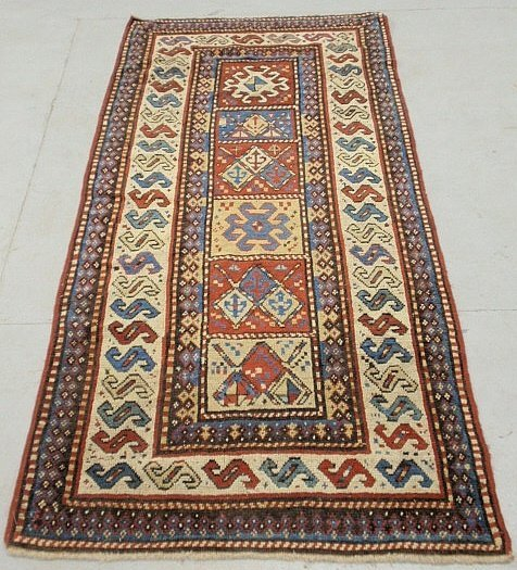 Fine colorful Kazak center hall runner with overall
