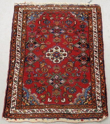 Persian oriental mat with red field, floral patterns