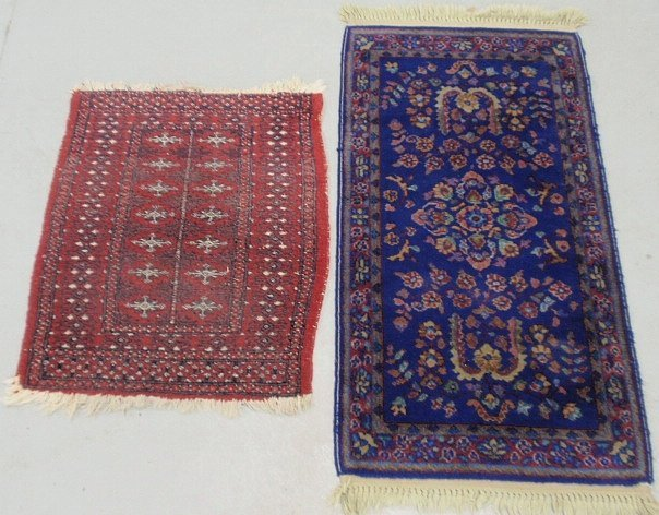 """Bokhara oriental mat with red field 2'7""""x2'1"""" and a"""