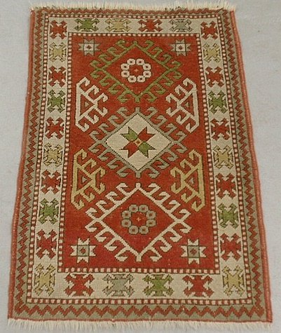 Kazak oriental hall mat with red field and overall geom