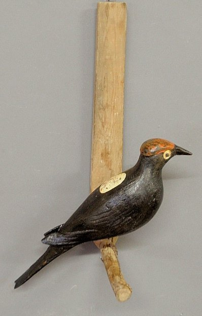 Large carved and paint decorated woodpecker, c.1930, mo