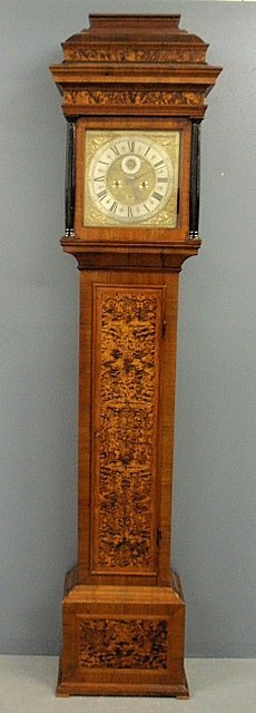 Queen Anne burlwood cased tall case clock with a sarcop