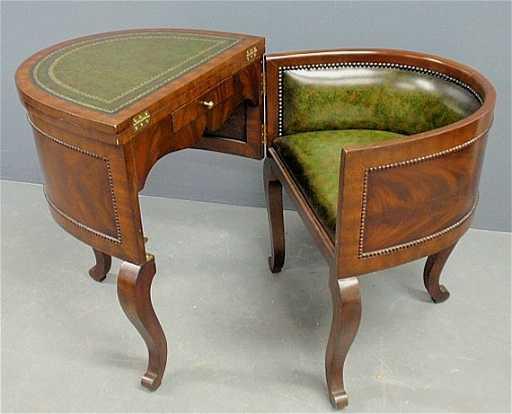 Maitland smith mahogany folding deskchair with green gumiabroncs Choice Image