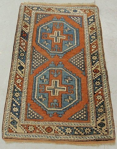 Colorful Caucasian oriental mat with two geometric