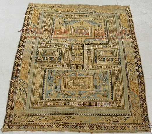 Dagestan oriental mat with geometric patterns.