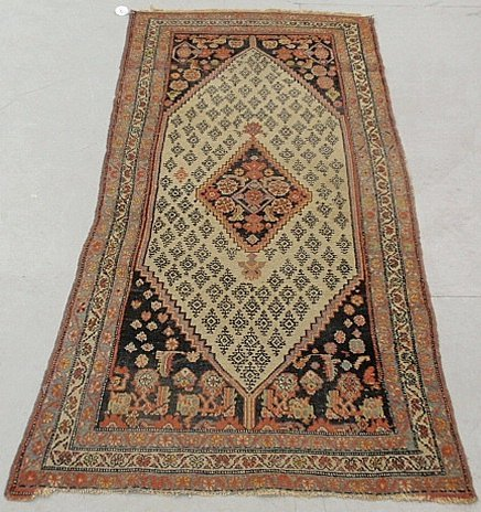 Hamadan oriental hall runner with an ivory field and