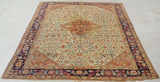 Room size Mashhad oriental carpet, c.1900, with a beige