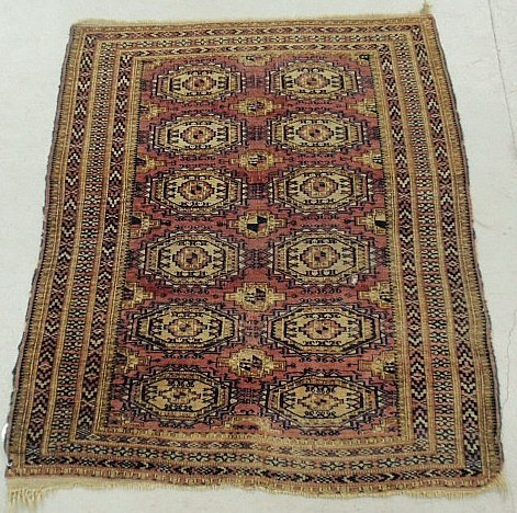 Turcoman oriental mat with overall geometric patterns.