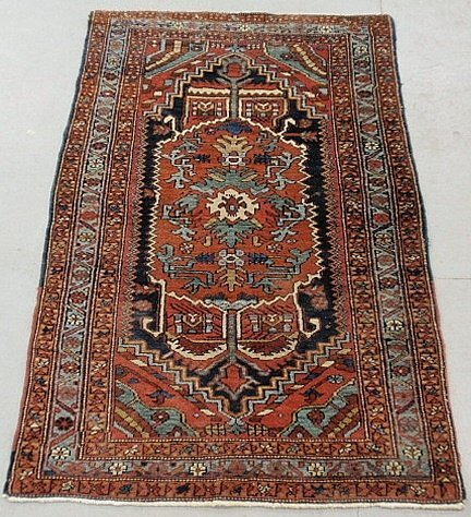 Fine Heriz oriental mat, c.1920, with an overall red