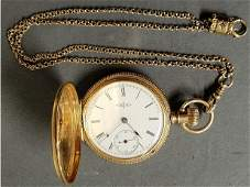 Elgin 14k gold hunter cased pocket watch with Roman