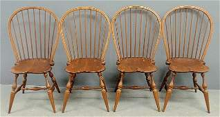 Set of four maple Windsor style bowback side chairs
