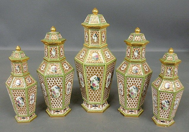 Fine five-piece Meissen porcelain garniture set,