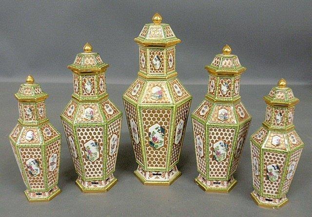 Fine five-piece Meissen porcelain garniture set,